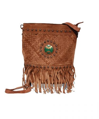 Bucket bag with fringes